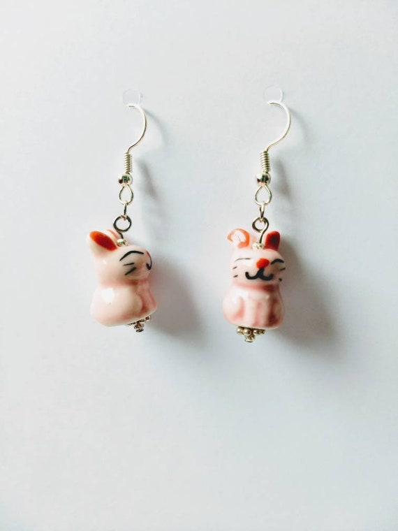 Ceramic Bunny Dangle Earrings for Easter with Silver Toned Ear Wires