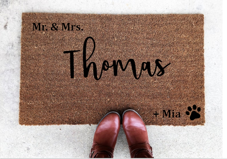 Mr. And Mrs. Welcome Mat Large Custom Welcome Mat Wedding image 0