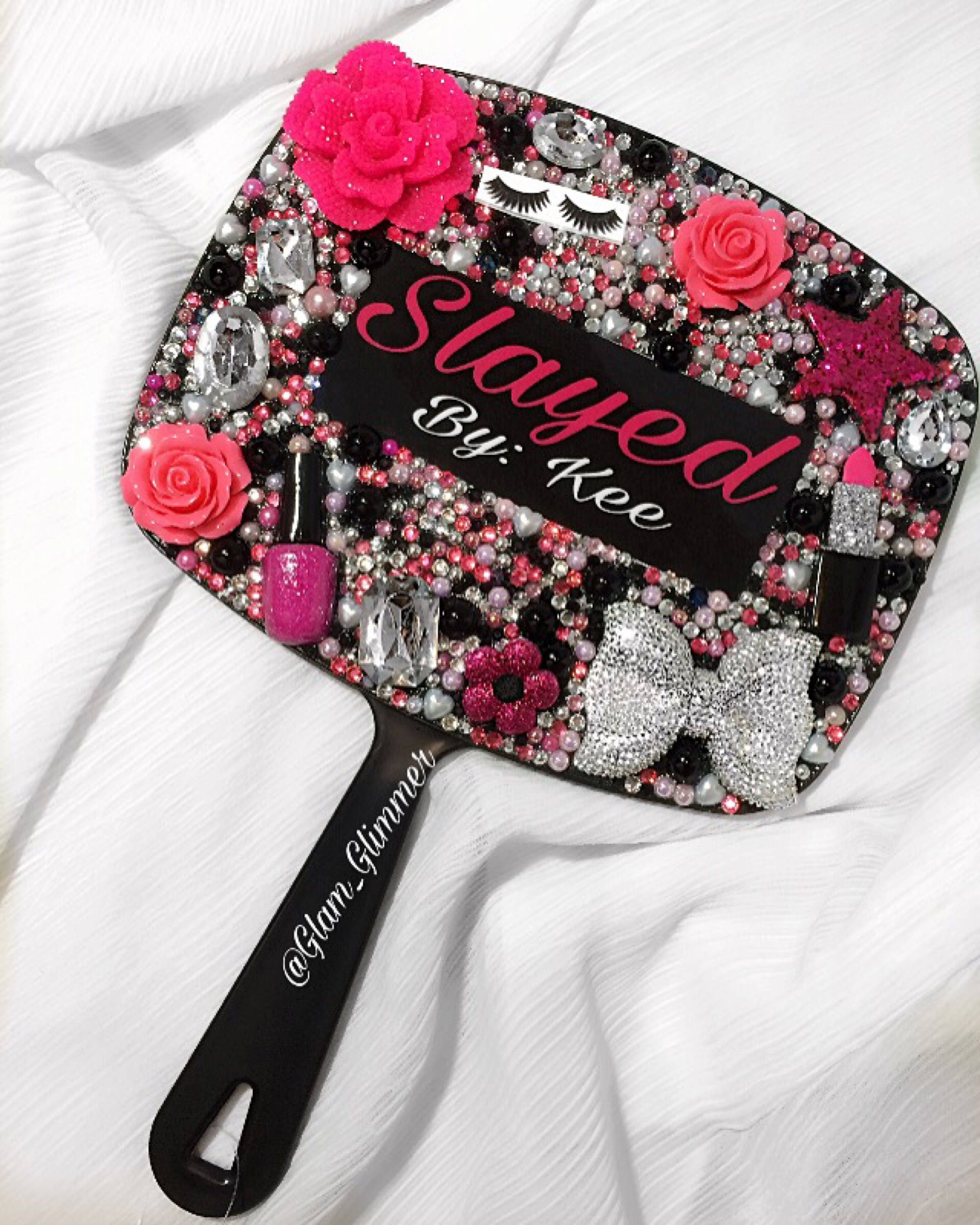 Custom Bling Hand Mirror Rhinestone Mirror Business Name