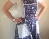 Winter holiday apron - Hanukkah apron - Gift for her - Full apron - Vintage style