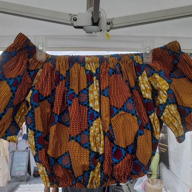 Ankara Top Wax Print Handmade Flare Top Ghana Crop Top