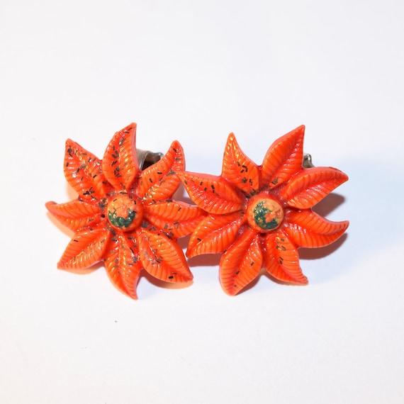 Orange Flower Vintage Clip On Earrings