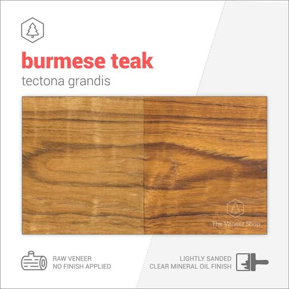 Burmese Teak Wood Veneer Sheets 56x13cm 2 Sheets Grade Aa Cs2tea1x2 Wood Veneer Leaf Wood Veneer Sample Marquetry Veneer