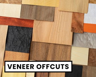 1/2 lbs assorted wood veneer offcuts (230g+) for marquetry, jewelry projects and fingerboards [M27]
