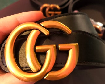 f8ee63232 100% AUTHENTIC SWAROVSKI Crystals on GG initial black belt old gold  beautiful classy unique Hand Made by me!