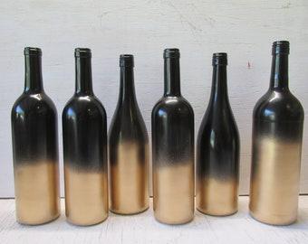 painted wine bottle flower vases black and gold fade set of 6 rustic weddingbaby showercenterpiecesbridal showerreception