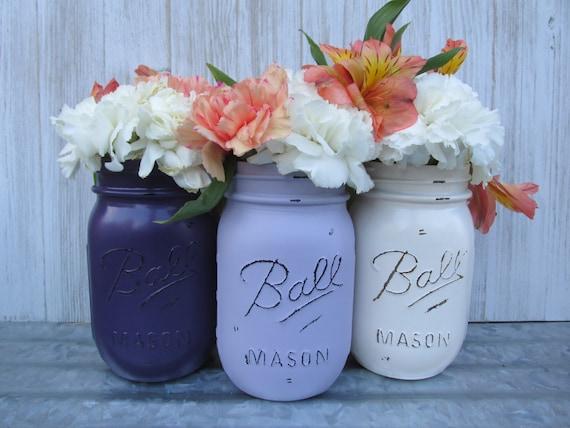 boule peinte fleur pots mason vases dark violet prune. Black Bedroom Furniture Sets. Home Design Ideas