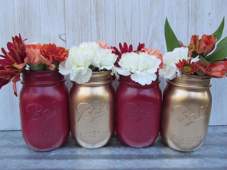 image 0 ... & Painted Ball Mason Jars-Flower Vases Metallic Gold and | Etsy