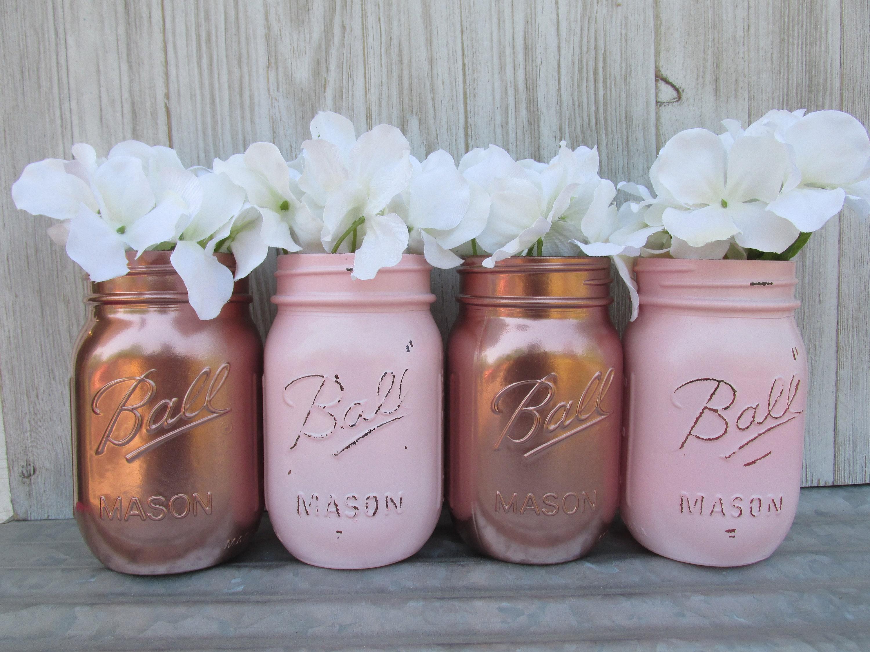 50 & Rose Gold Painted Ball Mason Jars-Flower Vases Matallic | Etsy