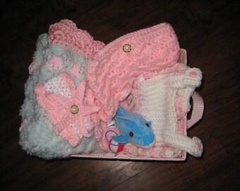 Baby Girl Gift Basket Hand Crocheted