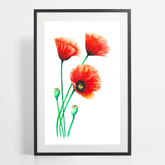 Watercolor Poppies Painting Print Poppies Art Flower Etsy