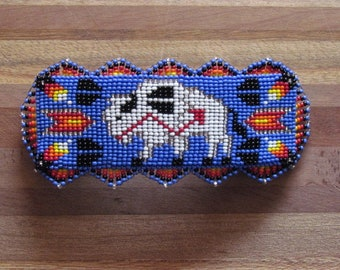 Native American Beaded Hair Barrette  Beaded Barrette Beaded Hair Clip Beaded White Buffalo Design