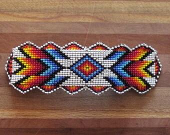Native American Beaded Hair Barrette  Beaded Barrette Beaded Hair Clip Beaded Traditional style Design
