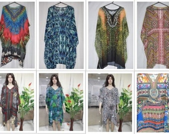 10e21582a6 Set of 6 Pcs Assorted Short Kaftans, Georgette Sheer Crystal Embellished  Tunics, Light Weight, Digitally Printed, One Size, Free Size Tops