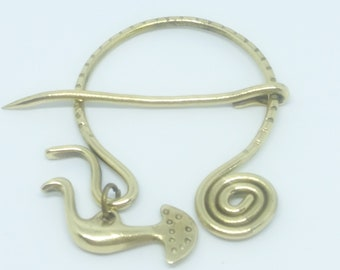 Penannular, Celtic fibula, Waterbird, Viking fibula, Brass fibula, Brass brooch, Shawl pin, Scarf Pin, Brass pin