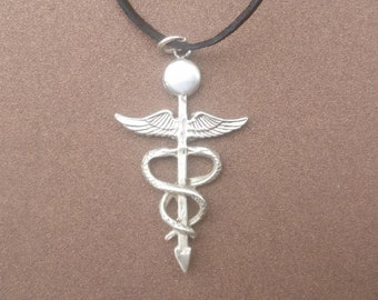 BULK 15 Caduceus Charms Wholesale Large Medical Symbol pendant beads Antique Silver 30X50mm CM1457S