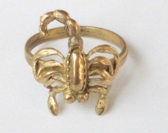 Scorpio Ring, Size 8 Ring, Zodiac Ring, Horoscope, Scorpio Sign, Scorpion, Desert Symbol Ring, Brass Jewelry, Handmade Gift
