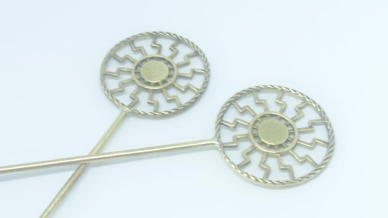Pagan Pin Sun Pin Hair Accessories Sun Pin Gift for Her Slavic Pin Kolovrat Pin Pagan Jewelry Black Sun Hair Pin Slavic Jewelry