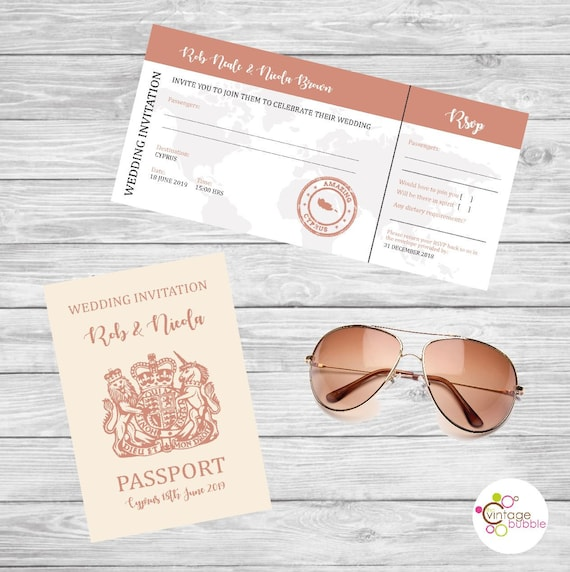 Passport Style Wedding Invitation And Boarding Pass Wedding Etsy