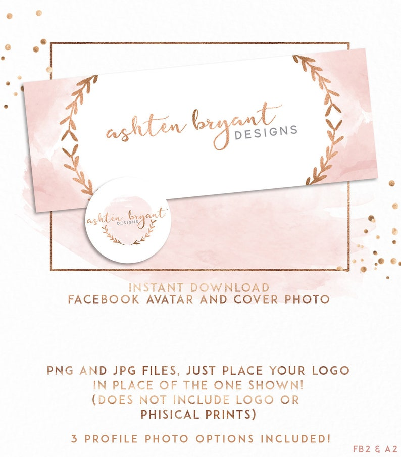 Rose Gold and Blush Facebook Cover and Avatar ( FB2 )