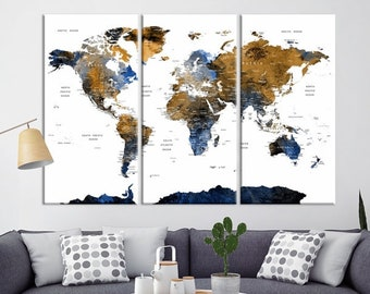 Colored world map etsy nz dark colored push pin watercolor world map large map wall art push pin travel gumiabroncs Image collections