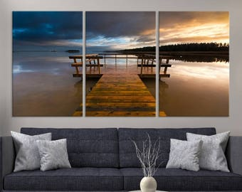 Large 3 Panels Nature Wall Art Canvas Print - Beautiful Sunset From the Wooden Wharf, Housewarming Gift, Canvas Art Print, Art Collectibles