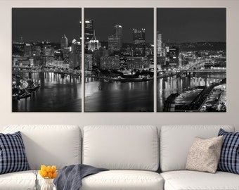 cd262df5af7 XLarge Black and White Pittsburgh Canvas Print