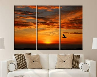 Large 3 Panels Wall Art Nature Canvas Print - A Lonely Bird Flying at Sunset Canvas, Nature Canvas Art, Housewarming Gift, Home Decoration