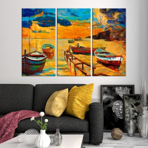 Large Triptych Wall Art Nature Canvas Art Print Set Of 3 Panel Art Oil Painting Artwork Landscape Abstract Birthday Gift Abstract Art