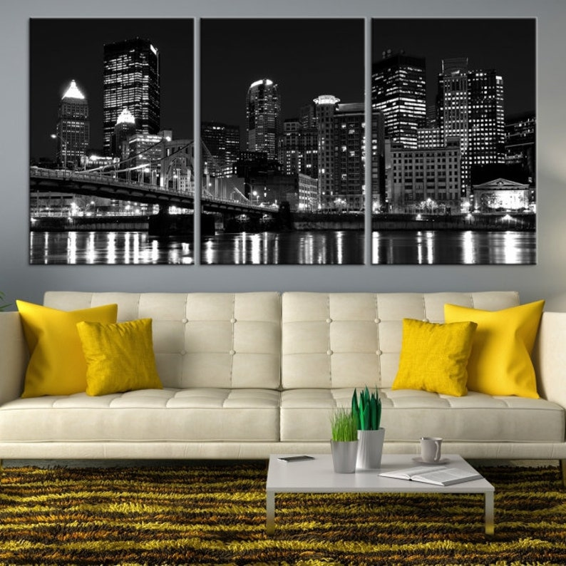 f639ae4d598 XLarge Black and White Pittsburgh Canvas Art Pittsburgh