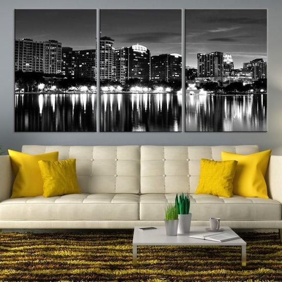 b79ad8f86f0 XLARGE Orlando City Skyline Canvas Art Black and White