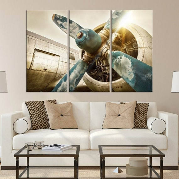 Vintage Airplane Propeller Canvas Print Old Plane Wall Art
