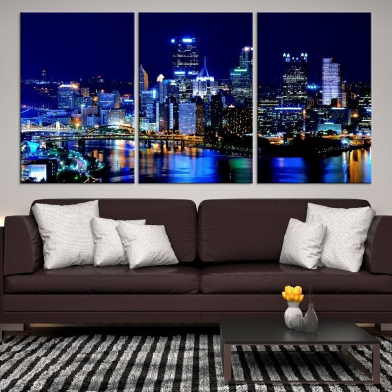 91cfdaf835d Extra Large Wall Art Pittsburgh City Canvas Art Pittsburgh