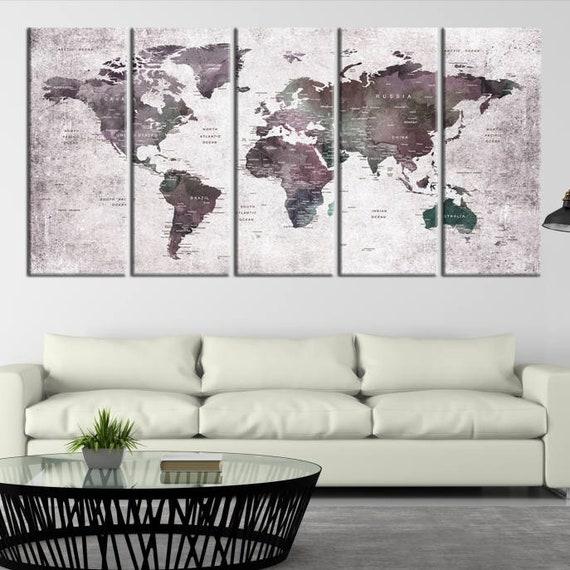Extra Large Watercolor Push Pin World Map Wall Art Dark | Etsy