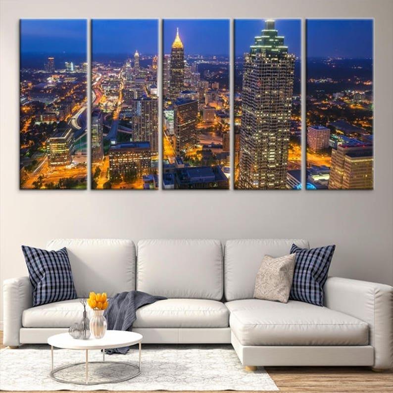 Extra Large Atlanta Aerial View Wall Art Atlanta City Lights at Night Print on Canvas Atlanta Skyline Wall Art