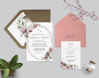 orchid wedding invitation etsy