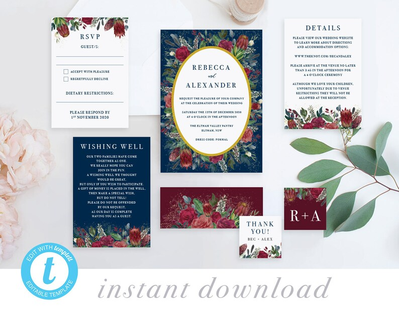 Burgundy Protea Rustic Wedding Invitations, Wedding invites with RSVP  Details Templates, Invitation Packages Printable, Online PDF Editable