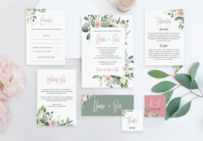 Eucalyptus Blush Greenery Rustic Wedding invite RSVP and Details templates Cards DIY Australian Natives Wedding Invitation Suite