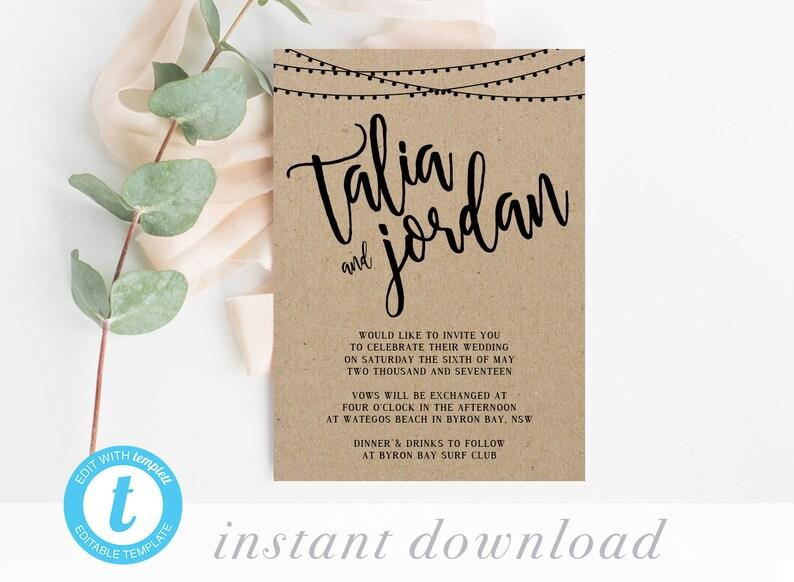 b5d824e672057 Rustic Wedding Invitation Template, Country Wedding Invites Printables,  Editable Kraft DIY Custom Party Invites, Online PDF String Lights