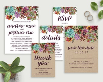 Printable Wedding Invitations, Wedding Invitation Template, DIY Wedding Invitations, Affordable Invitations, Save the Date, Succulent,Rustic