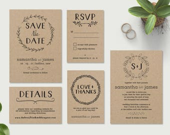 Printable Wedding Invitations, Wedding Invitation Template, DIY Wedding Invitations, Affordable Invitations, Save the Date, Rustic Kraft