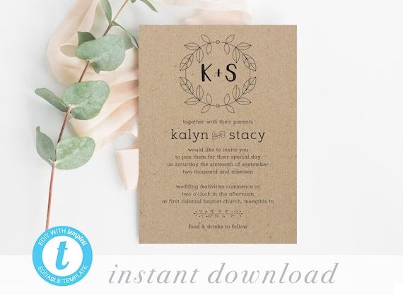 Cheap Wedding Invitations Printable Wedding Invite Template Etsy