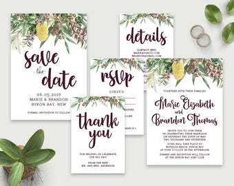 Printable Wedding Invitations, Wedding Invitation Template, DIY Wedding Invitations, Affordable Invitations, Save the Date Australian Native