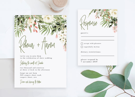 Cheap Wedding Invitation And Rsvp Templates Boho Rustic Etsy