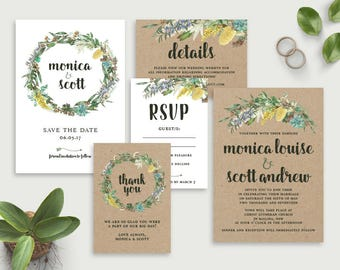Printable Wedding Invitations, Wedding Invitation Template, DIY Wedding Invitations, Affordable Invitations Save the Date, Australian Native