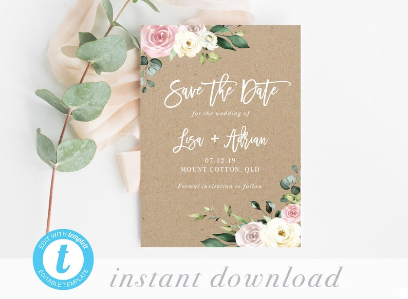 Templett Save the Date Template DIY Invitation Printable Save the Date Rustic Wedding Kraft Floral Blush Pink pdf INSTANT DOWNLOAD