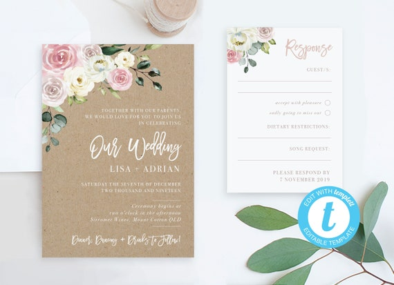 Wedding Invitation Packages.Wedding Invites With Rsvp Card Templates Cheap Wedding Invitation Packages Printable Online Pdf Rustic Editable Invitation Templates Kit