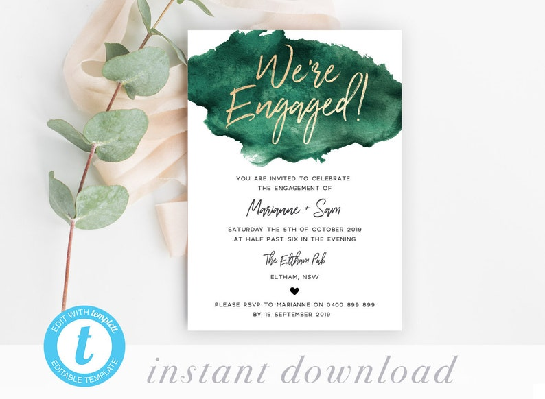 Engagement Party Invites Emerald Green Invitation Template Editable Printable Engaged DIY Were Gold