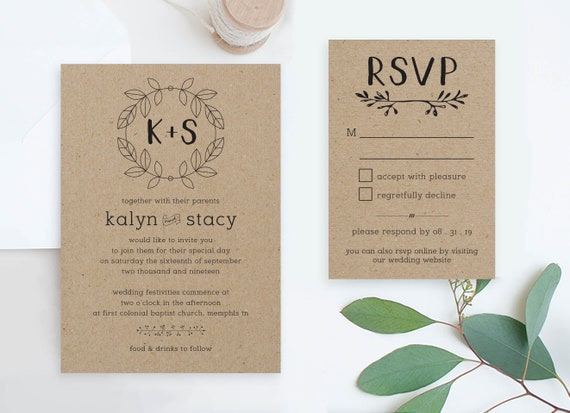 Cheap Wedding Invites And Rsvp Set Printables Rustic Wedding Invitations Suite Diy Invitation Packages Country Wedding Cards Online Pdf