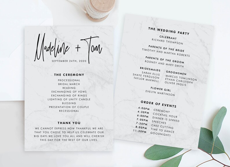 Cheap Wedding Programs.Cheap Wedding Program Template Modern Ceremony Order Of Service Cards Editable Pdf Printable Programs Diy Wedding Timeline Cards Online